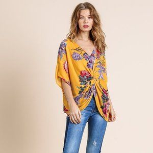 Umgee Honey Floral Print Reversible Twist Knot Top